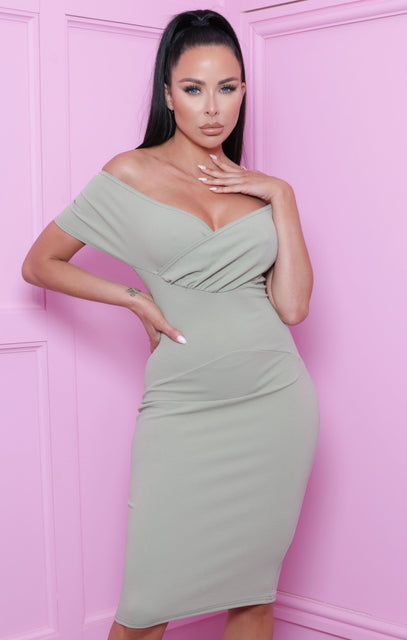 Sage Bardot Bodycon Midi Dress - Ash