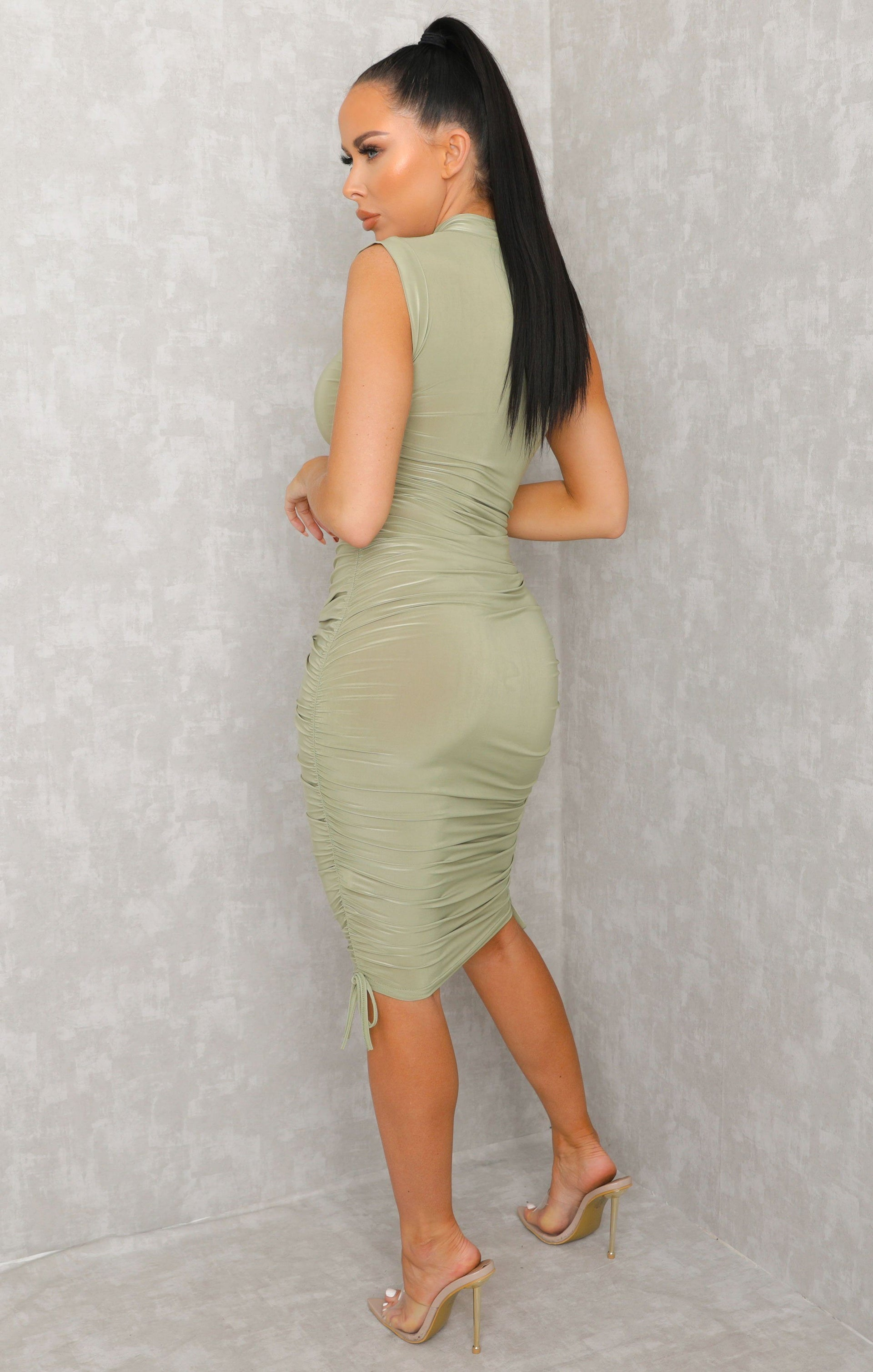 Sage Bardot Organza Sleeve Bodycon Mini Dress - Kaya