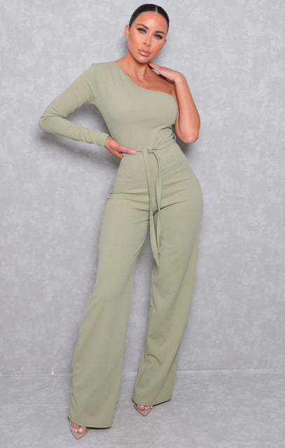 Sage Belted One Shoulder Jumpsuit - Evelyn