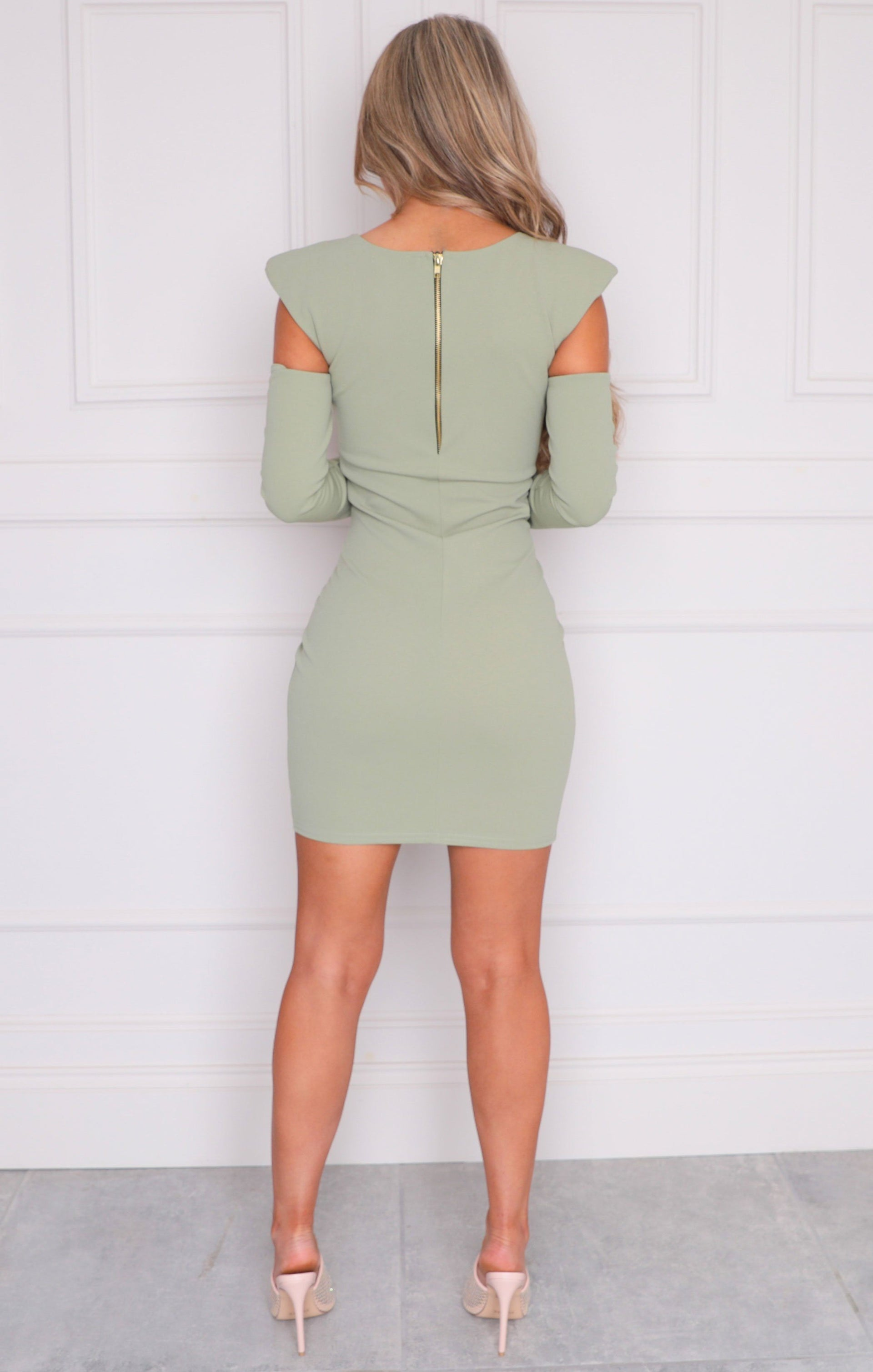 Sage Cut Out Shoulder Pads Bodycon Mini Dress - Colette