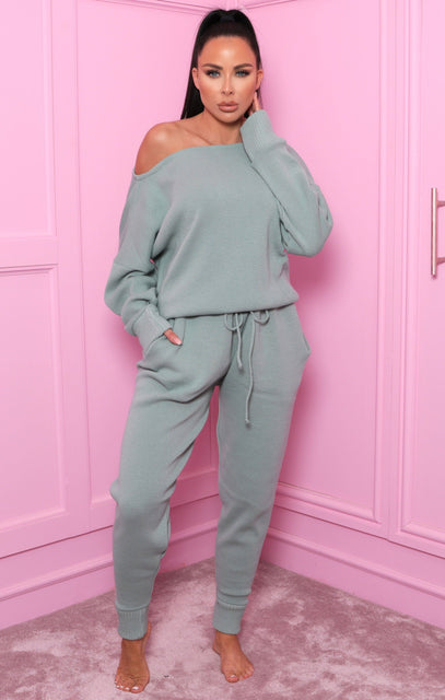 Sage Fine Knit Off The Shoulder Loungewear - Zoe