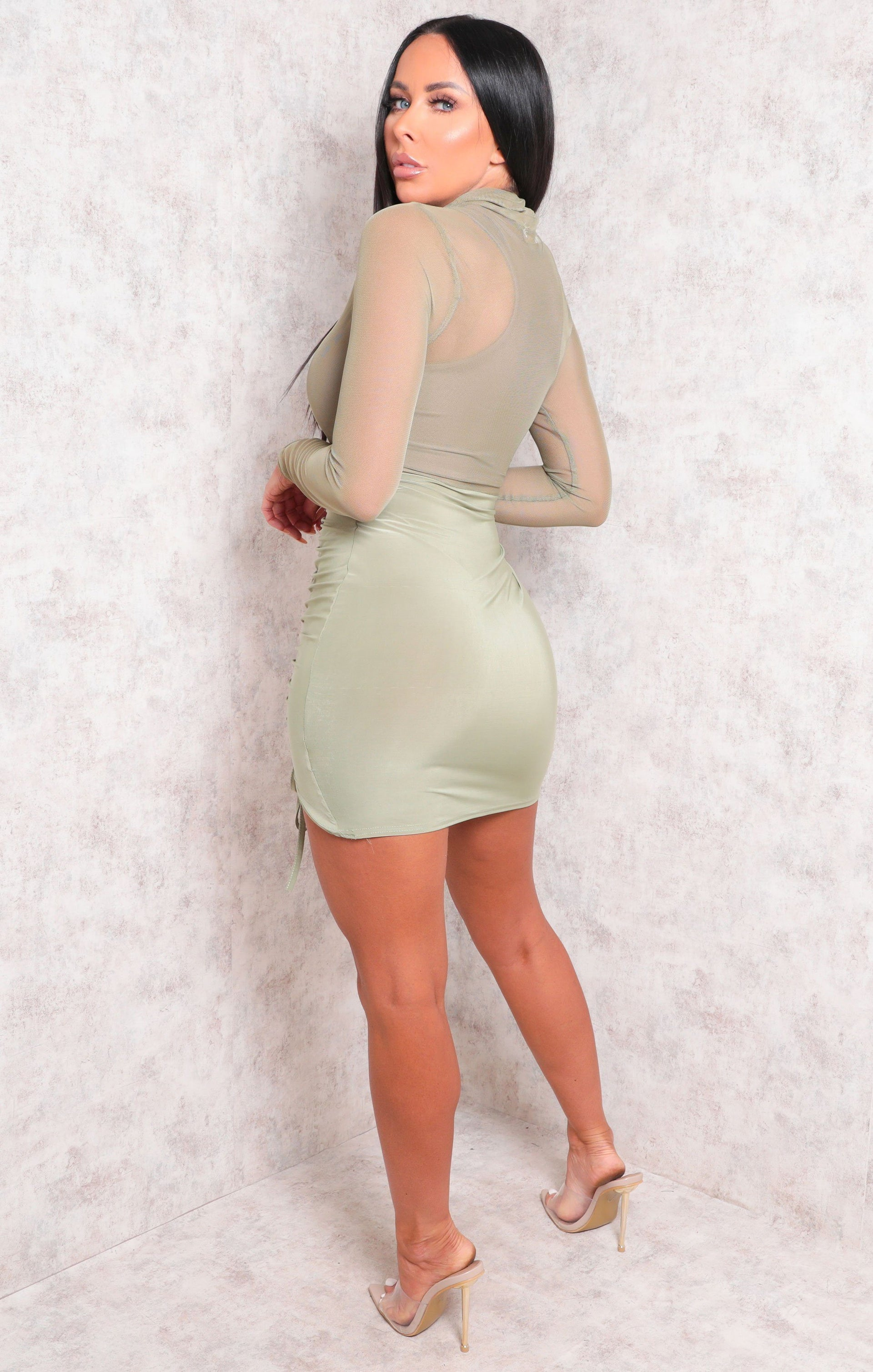 Sage Mesh Fishnet High Neck Ruched Mini Dress - Dani