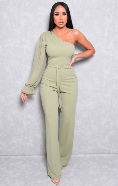 Sage Mesh One Shoulder Sleeve Flare Leg Jumpsuit - Daisy