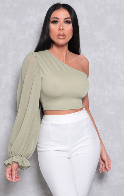 Sage Mesh Puff One Sleeve Organza Crop Top - Rihanna