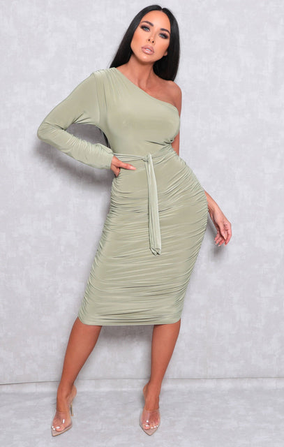 Sage One Shoulder Ruched Slinky Midi Dress - Savannah