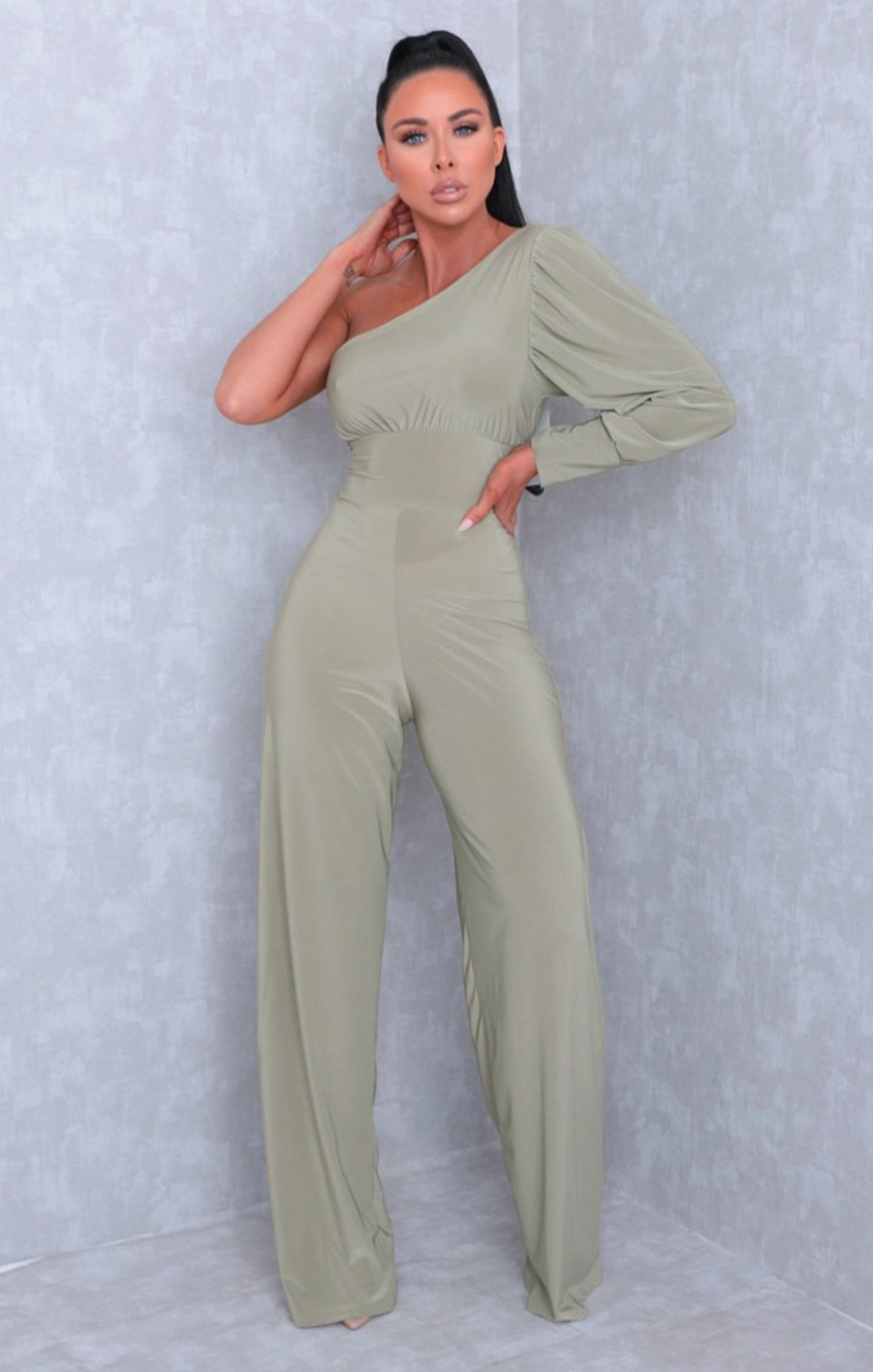 Sage One Shoulder Straight Leg Slinky Jumpsuit - Poppy