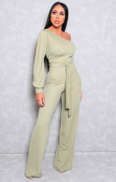 Sage One Shoulder Wide Leg Split Sleeve Jumpsuit - Sarah