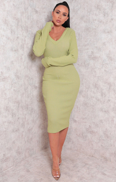 Sage Ribbed V Neck Midi Jumper Dress - Ivy