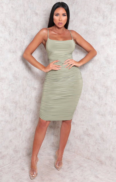 Sage Ruched Midi Bodycon Dress - Taylor