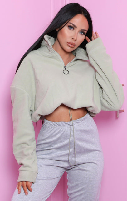 Sage Zip Up Cropped Fleece Sweatshirt - Julissa
