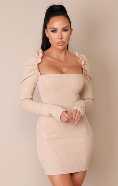 Sand Frill Sleeve Ribbed Bodycon Mini Dress - Julieta