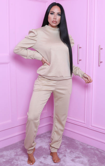 Sand Puff Shoulder Long Sleeve Loungewear Set - Adilynn