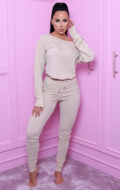 Sand Ribbed Cuffed High Waisted Leggings - Kenzie