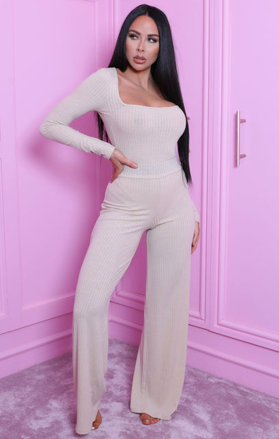 Sand Ribbed Wide Leg High Waisted Trousers - Keira