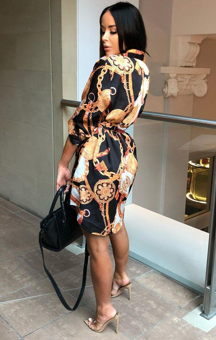Black Chain Print Belted Satin Shirt Dress - Rio
