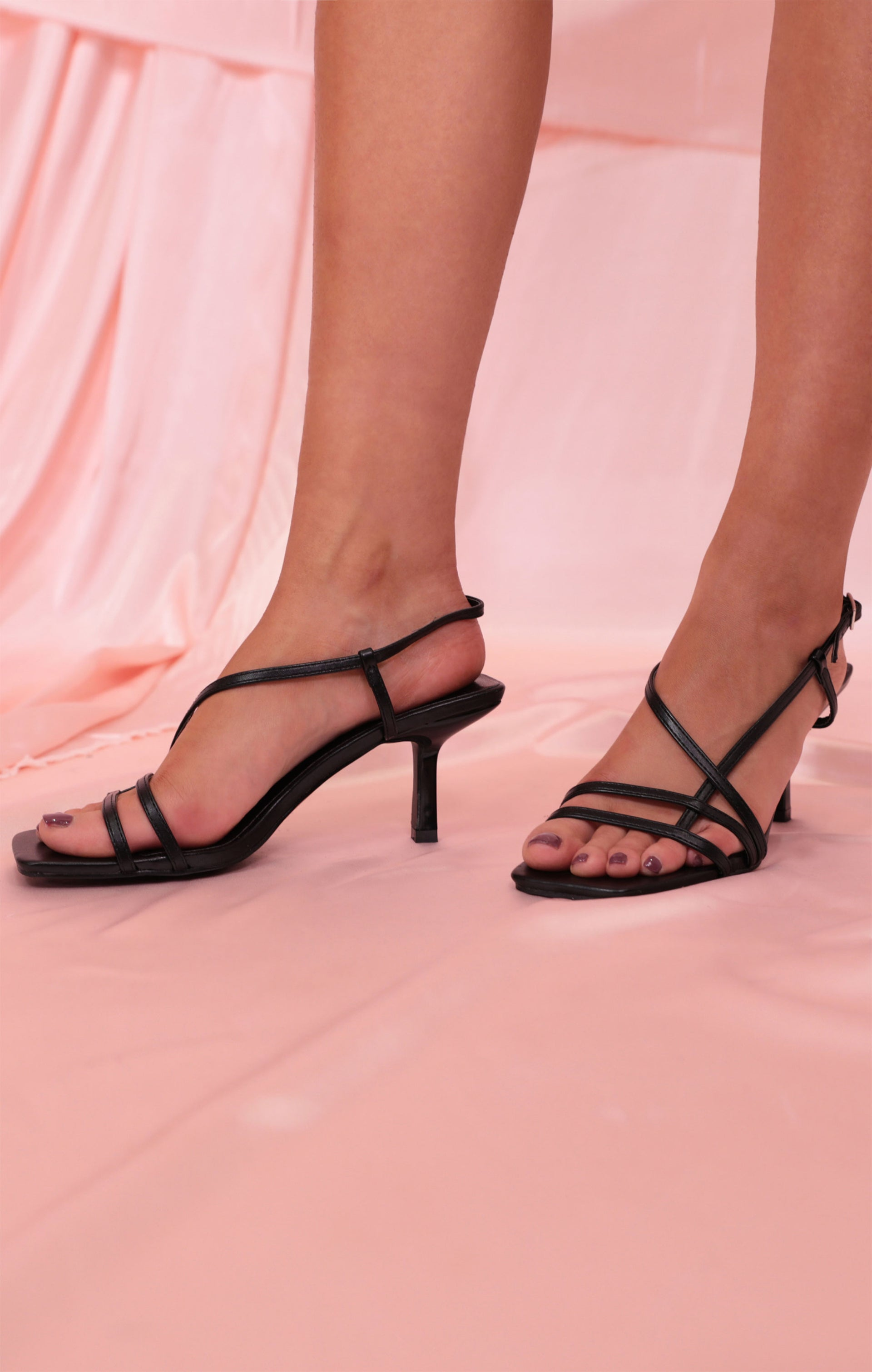 Black Strappy Square Toe Low Heels
