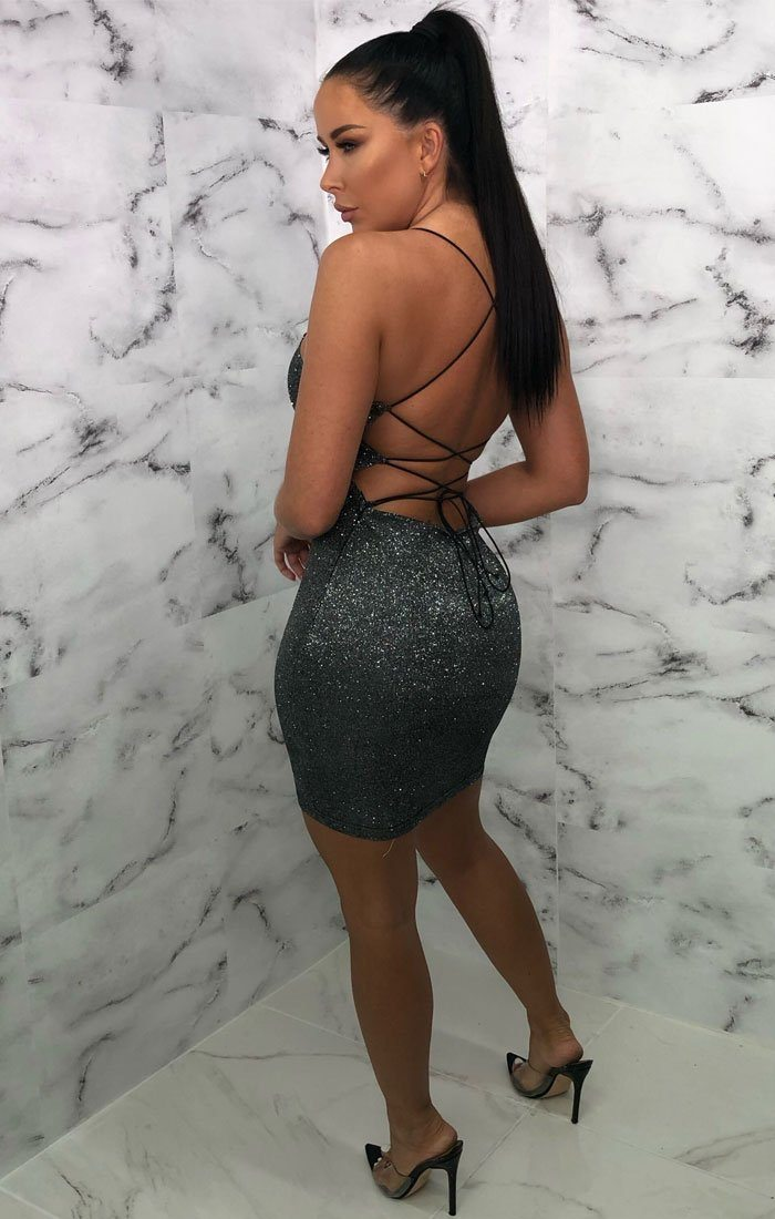 Silver Black Glitter Cross Back Bodycon Mini Dress - Karen