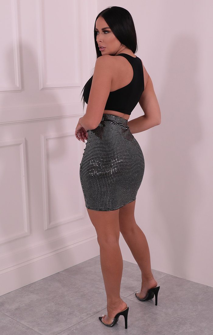 Silver & Black Square Sequin Knot Skirt - Dara