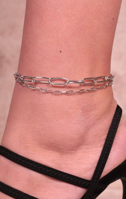Silver Chain Link Anklet - Maine