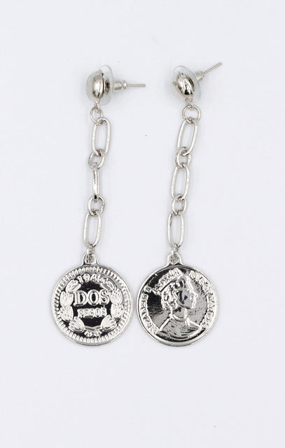 Silver Chain Link Drop Coin Earrings - Cassandra