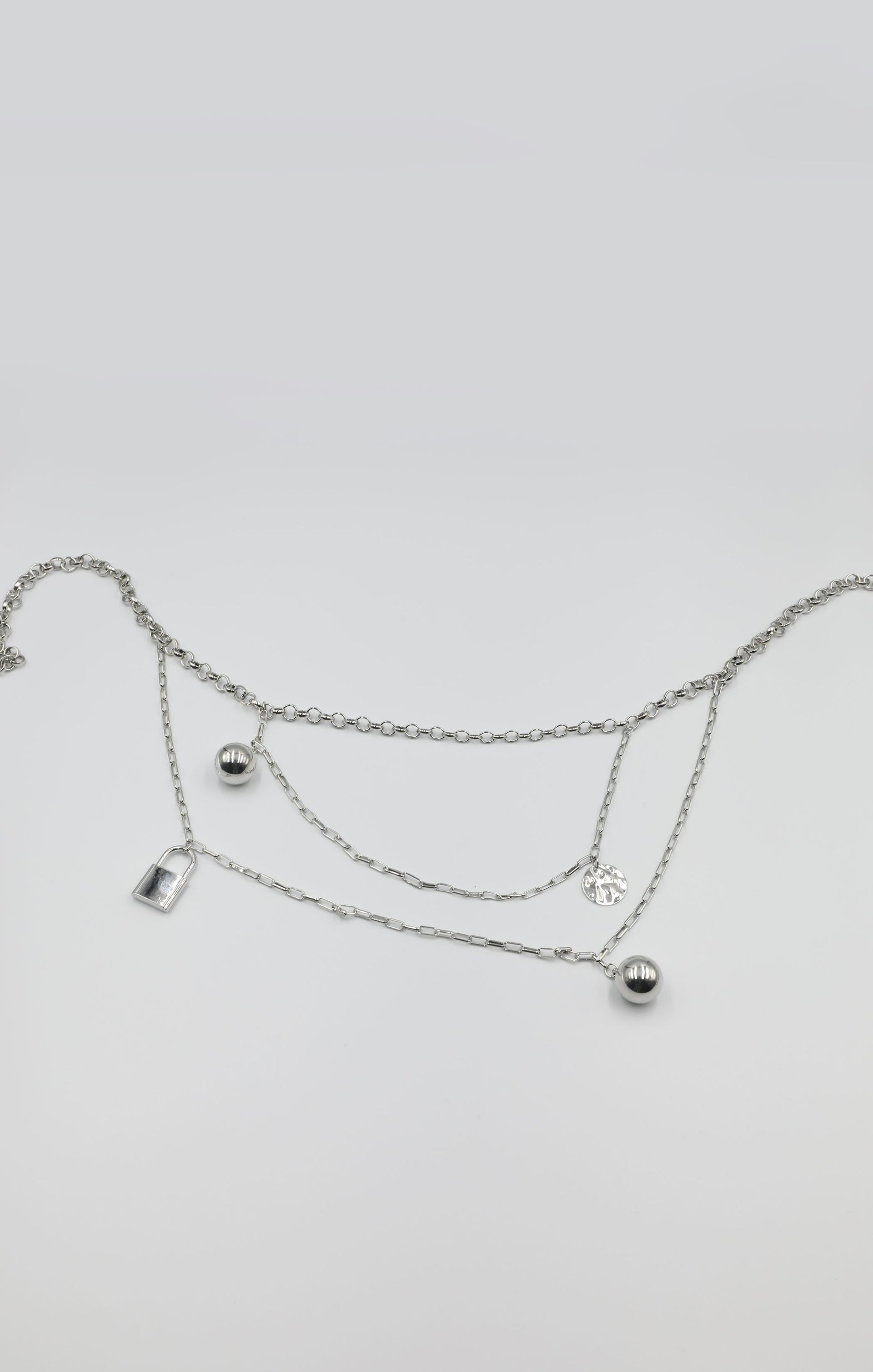 Silver Chain Link Hammered Coin & Ball Drop Belt - Dezzi