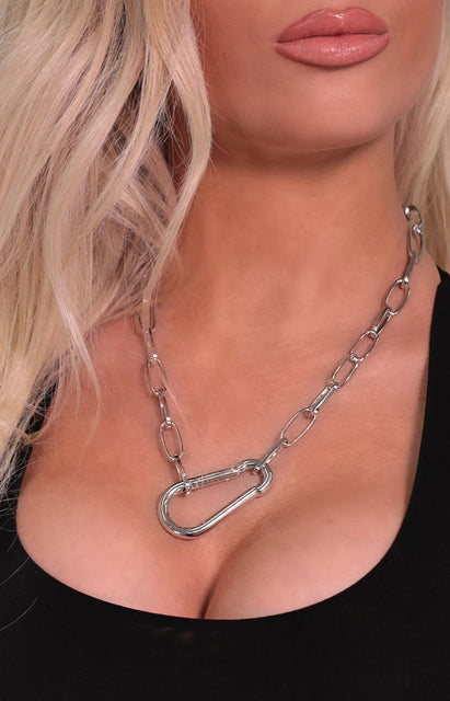 Silver Chunky Chain Link Carabiner Necklace - Riley