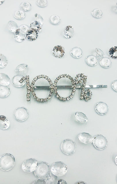 Silver Diamante 100% Slogan Hair Slide - Mansi
