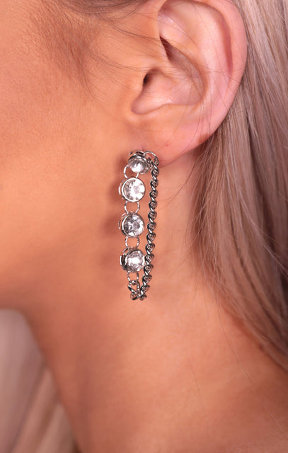 Silver Diamante Chain Drop Earrings - Nadine