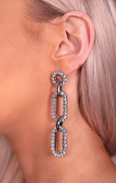 Silver Diamante Chain Link Drop Earrings - Chelsee