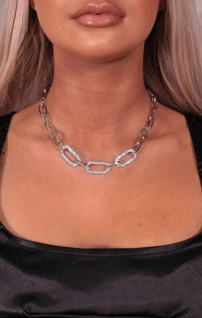 Silver Diamante Chain Necklace - Ellie