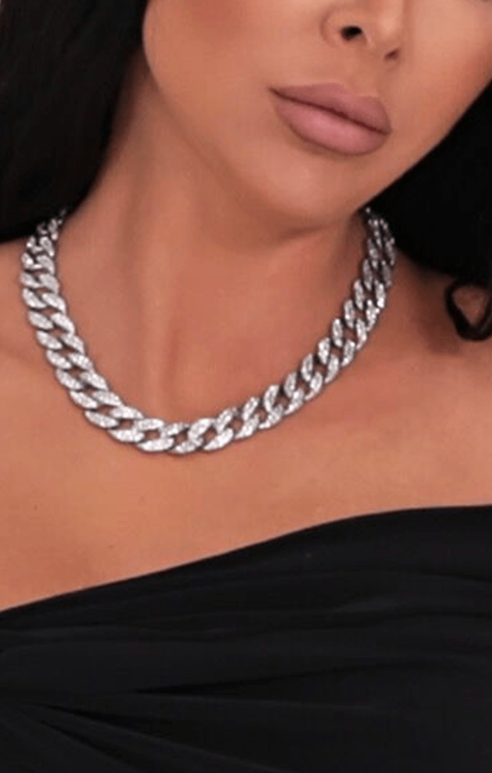 Silver Diamante Chunky Chain Link Necklace - Trish