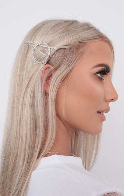 Silver Diamante Circle Hair Slides Two Pack - Justice