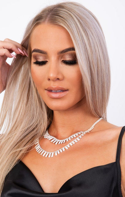 Silver Diamante Double Layer Necklace - Destiny