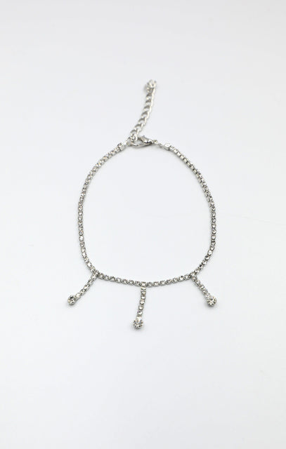 Silver Diamante Drop Anklet - Tatum