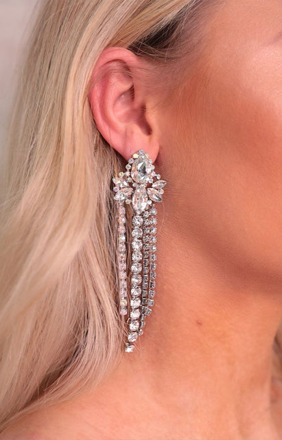 Silver Diamante Drop Diamond Waterfall Earrings - Rilla