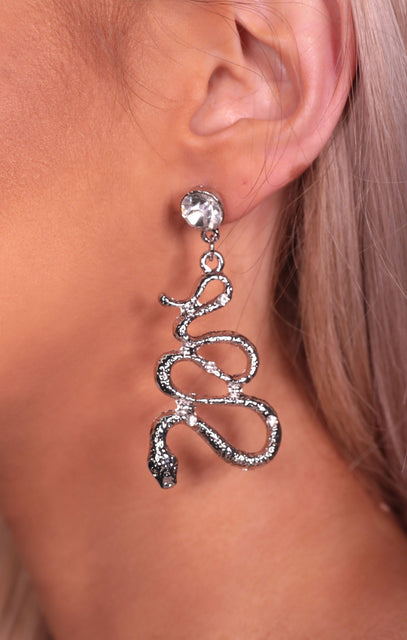 Silver Diamante Hammered Snake Earrings - Ramona