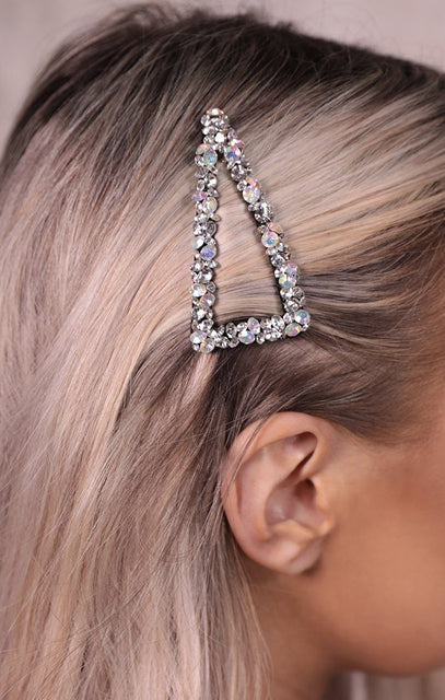 Silver Diamante Jewelled Triangle Hair Slide - Tessa