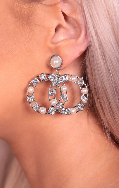 Silver Diamante & Pearl Double Hoop Drop Earrings - Kai