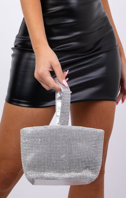 Silver Diamante Square Wrist Bag - Franco