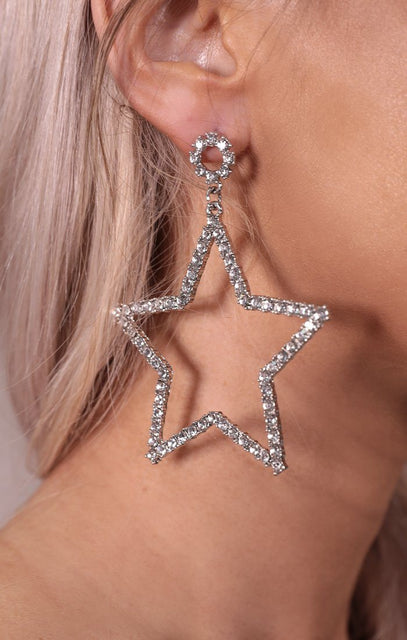 Silver Diamante Star Drop Earrings - Julie