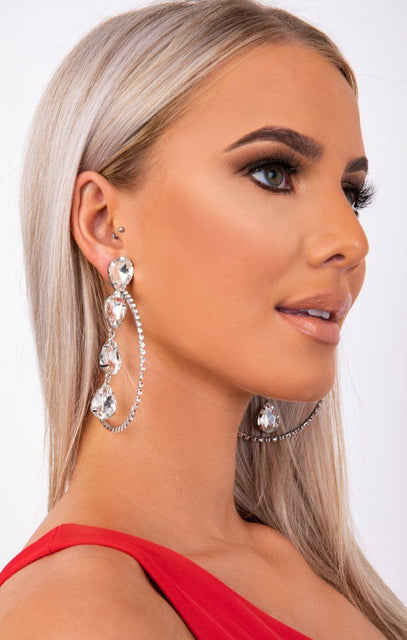 Silver Diamante Tear Drop Hoop Earrings - Saba