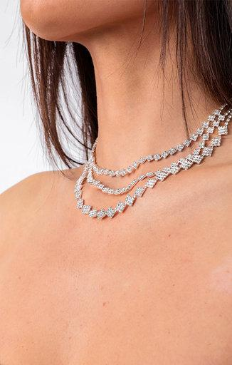 Silver Diamante Three Layer Necklace - Austin