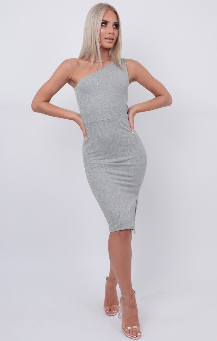 Silver Glitter One Shoulder Midi Dress - Brianna