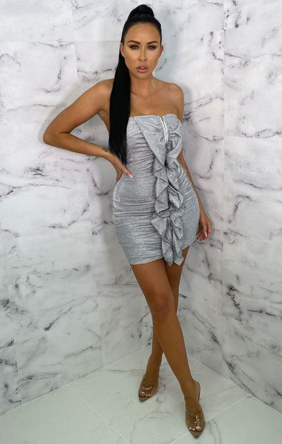 Silver Glitter Ruffle Front Bodycon Mini Dress - Elouise