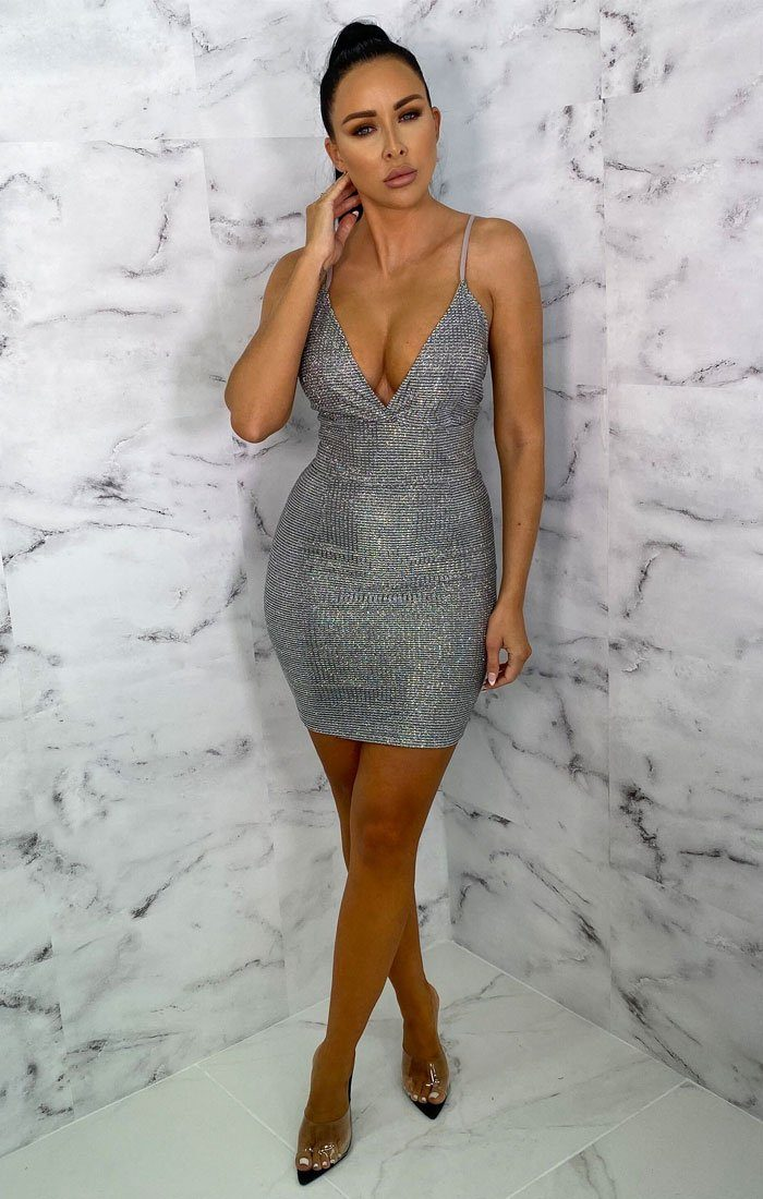 Silver Glitter Sparkly Bodycon Plunge Mini Dress - Riri