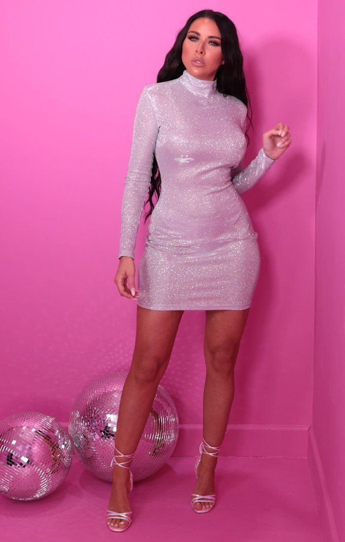 Silver Glitter Sparkly High Neck Bodycon Mini Dress - Aubrey