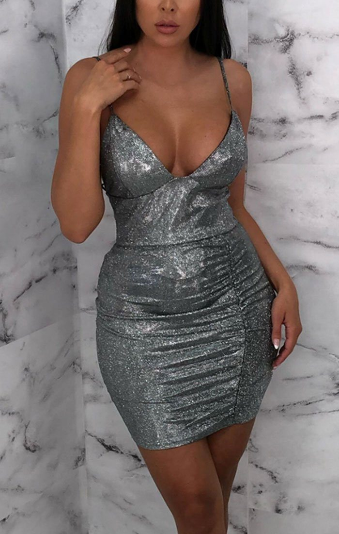 Silver Glitter Sparkly Plunge Bodycon Mini Dress - Meredith