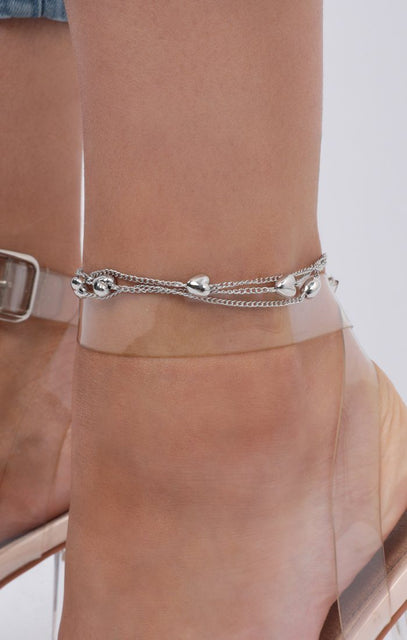 Silver Heart Chain Anklet - Noelle