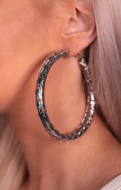 Silver Oversized Leaf Pattern Hoop Earrings - Kerry