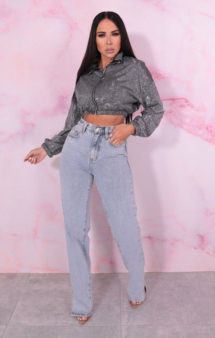 Silver Iridescent Glitter Cropped Jacket - Percy